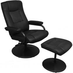 stradeXL Fotel TV z podnóżkiem, czarny, sztuczna skóra