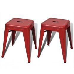 stradeXL Stołki sztaplowane, 2 szt., czerwone, metalowe