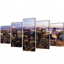 Zestaw obrazów Canvas 100 x 50 cm Nowy Jork z lotu ptaka