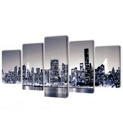 Zestaw biało czarnych obrazów Canvas 100 x 50 cm Nowy Jork