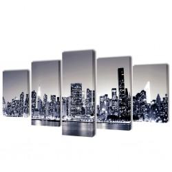 Zestaw biało czarnych obrazów Canvas 200 x 100 cm Nowy Jork