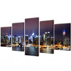 Zestaw obrazów Canvas 100 x 50 cm Nowy Jork