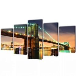 Zestaw obrazów Canvas 100 x 50 cm Most Brookliński