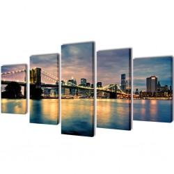 Zestaw obrazów Canvas 100 x 50 cm Rzeka z Mostem Brooklińskim