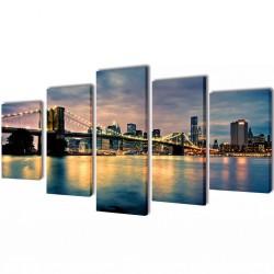 Zestaw obrazów Canvas 200 x 100 cm Rzeka z Mostem Brooklińskim