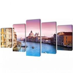 Zestaw obrazów Canvas 100 x 50 cm Wenecja
