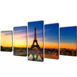 Zestaw obrazów Canvas 200 x 100 cm Wieża Eiffla