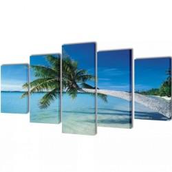 Zestaw obrazów Canvas 100 x 50 cm Plaża i Palmy