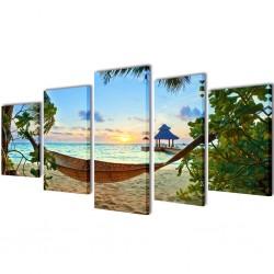 Zestaw obrazów Canvas 200 x 100 cm Plaża i Hamak
