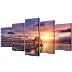 Zestaw obrazów Canvas 200 x 100 cm Plaża i Domek