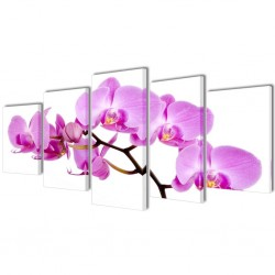Canvas Wall Print Set Orchid 200 x 100 cm