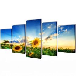 Zestaw obrazów Canvas 100 x 50 cm Słoneczniki
