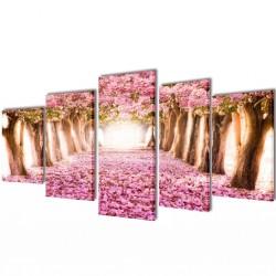 Zestaw obrazów Canvas 200 x 100 cm Kwiat Wiśni