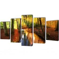 Zestaw obrazów Canvas 100 x 50 cm Las