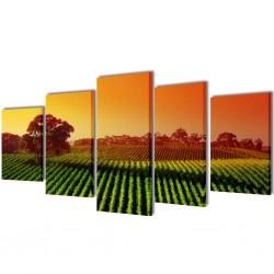 Zestaw obrazów Canvas 100 x 50 cm Pola