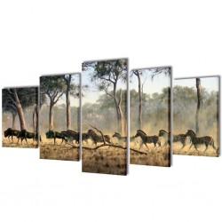 Zestaw obrazów Canvas 200 x 100 cm Zebry