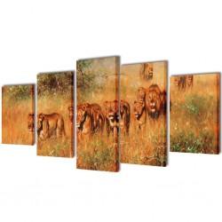 Zestaw obrazów Canvas 200 x 100 cm Lwy