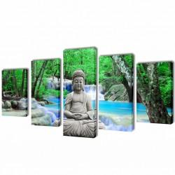 Zestaw obrazów Canvas 100 x 50 cm Budda