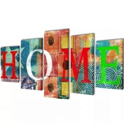Zestaw kolorowych obrazów Canvas 200 x 100 cm Sweet Home