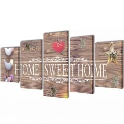 Zestaw obrazów Canvas 100 x 50 cm Sweet Home