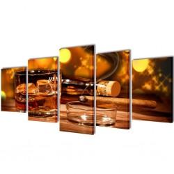 stradeXL Zestaw drukowany na płótnie, whiskey i cygaro 200 x 100 cm