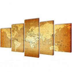Zestaw obrazów Canvas 100 x 50 cm Mapa Świata