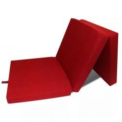 stradeXL Materac składany, trzysegmentowy, 190 x 70 x 9 cm, czerwony
