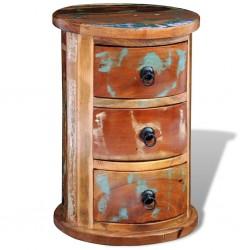 stradeXL Okrągła szafka z drewna odzyskanego z 3 szufladami