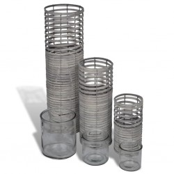 Grey 3 pcs Handmade Weaving Candle Holder
