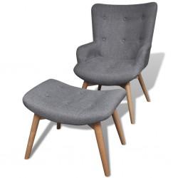 stradeXL Tapicerowany fotel z podnóżkiem, szary, materiałowy