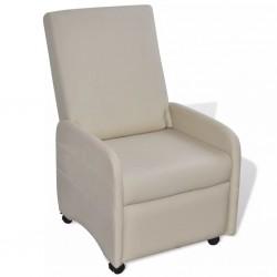 stradeXL Fotel, składany, kremowy, sztuczna skóra