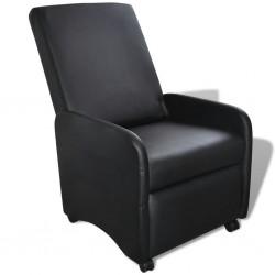 stradeXL Fotel, składany, czarny, sztuczna skóra
