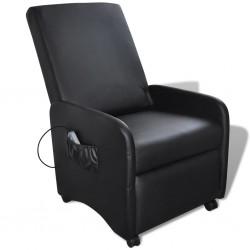 stradeXL Fotel masujący, czarny, sztuczna skóra