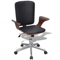 Obrotowe krzesło biurowe drewno i skóra