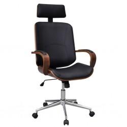 Krzesło biurowe obrotowe z drewna i sztucznej skóry