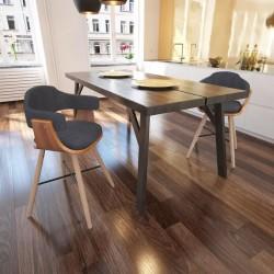 stradeXL Krzesła stołowe, 2 szt., ciemnoszare, gięte drewno i tkanina