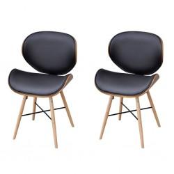stradeXL Krzesła stołowe, 2 szt., gięte drewno i sztuczna skóra