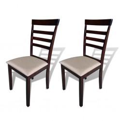 stradeXL Krzesła stołowe, 2 szt., brązowo-kremowe, lite drewno i tkanina