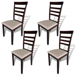 stradeXL Krzesła stołowe, 4 szt., brązowo-kremowe, lite drewno i tkanina
