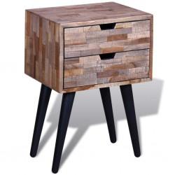 stradeXL Szafka nocna z odzyskanego drewna tekowego z 2 szufladami