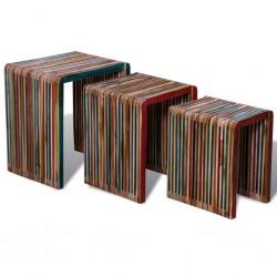 stradeXL Zestaw 3 stolików wsuwanych pod siebie, kolorowe drewno tekowe