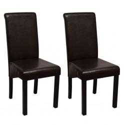 stradeXL Krzesła stołowe, 2 szt., brązowe, sztuczna skóra