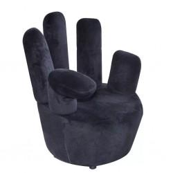 stradeXL Fotel w kształcie dłoni, czarny, aksamit