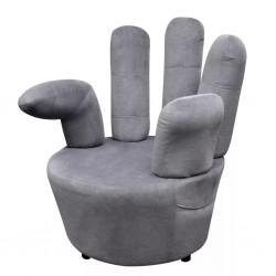 stradeXL Fotel w kształcie dłoni, szary, aksamit