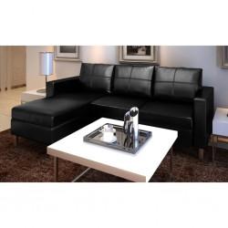 stradeXL Sofa 3-osobowa, skóra syntetyczna, czarna