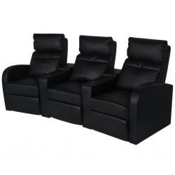 stradeXL Fotele kinowe dla 3 osób, sztuczna skóra, czarne