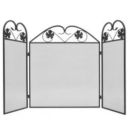 stradeXL 3-skrzydłowy ekran kominkowy, metalowy, czarny