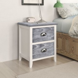 stradeXL Nightstand 2 pcs with 2 Drawers Grey and White