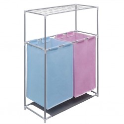 2-Section Laundry Sorter Hamper with a Top Shelf for Drying