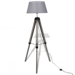 Drewniana lampa podłogowa z szarym kloszem z materiału
